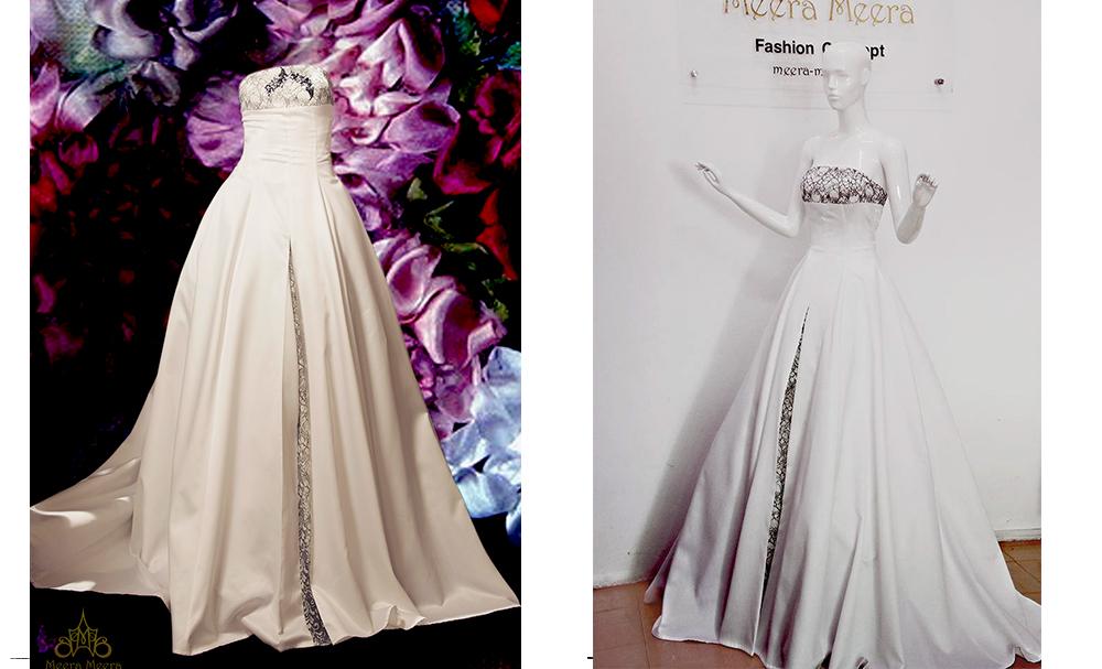 Áo cưới tùng xoè cúp ngực- Mẫu 005 Tùng váy xoè phù hợp với nhiều dáng người, và giúp cô dâu che khuyết điểm vòng 2. Đầm được may bằng vải lụa bóng, phù hợp với nhiều không gian tiệc cưới.