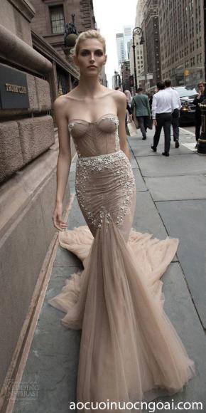 áo cưới đuôi cá màu da cúp corset gợi cảm quyến rũ