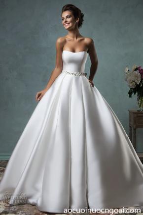 áo cưới cúp ngực đơn giản sang trọng trên satin