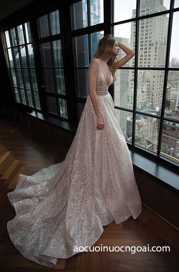 áo cưới chữ a kết hạt lấp lánh gợi cảm tinh tế