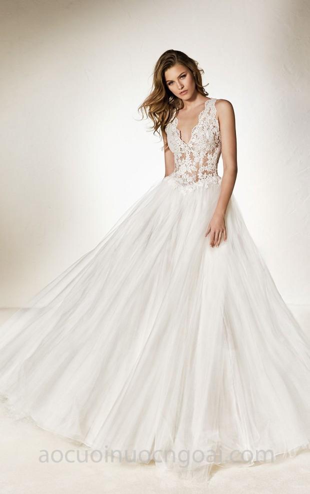 váy cưới công chúa hạ eo Pronovias One 2018 Cheno xưởng may áo cưới đẹp tp hcm sài gòn meera meera bridal
