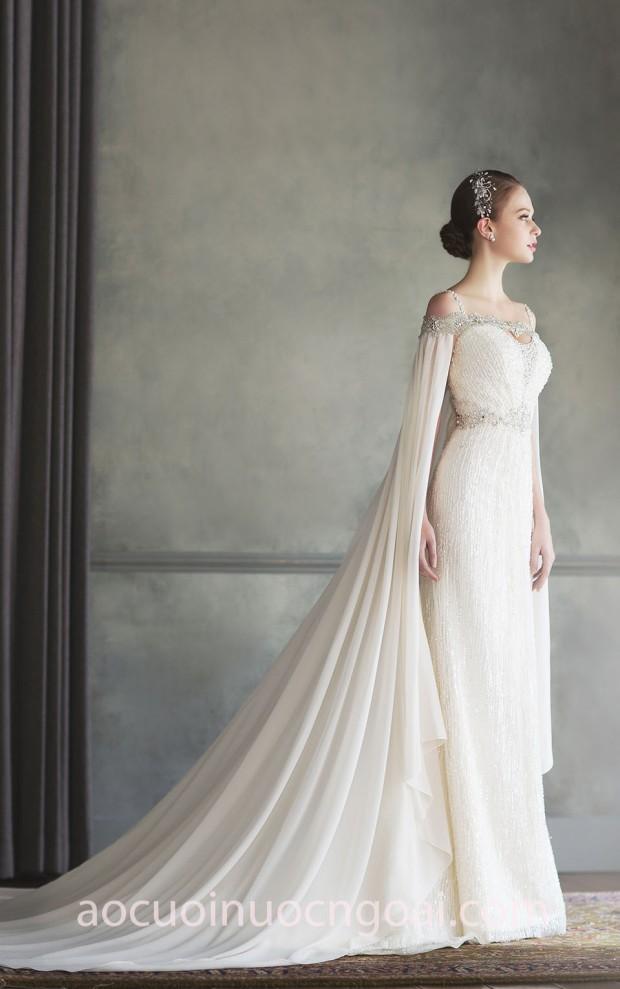 xưởng may váy cưới đẹp tp hcm sài gòn áo cưới meera meera fashion concept váy cưới cape Bonheur Sposa