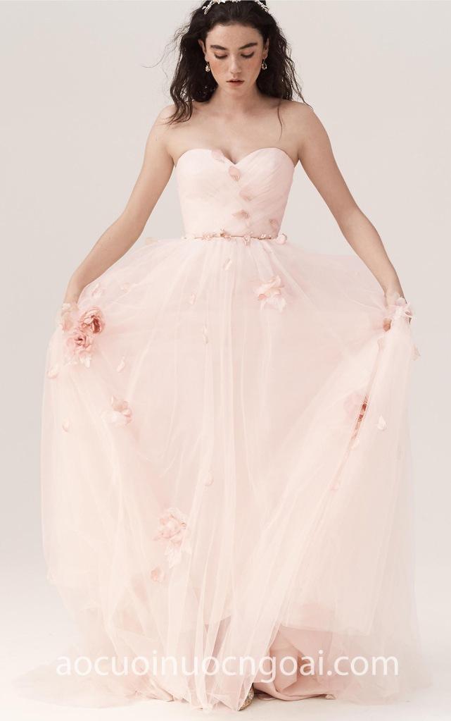 Áo cưới dạ tiệc đính hoa hồng 3D NN6972