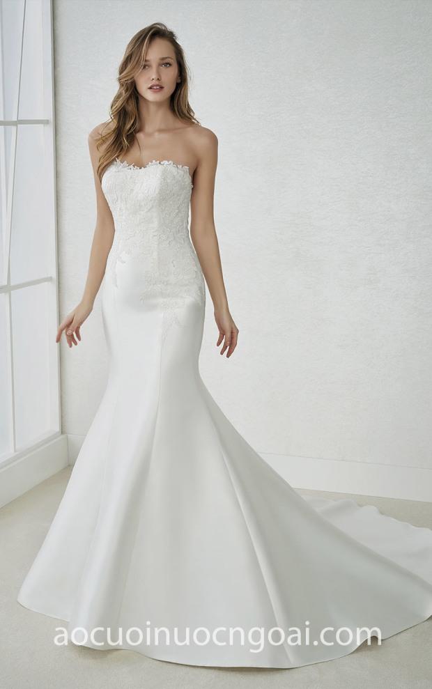 áo cưới đuôi cá cúp ngực may áo cưới đẹp