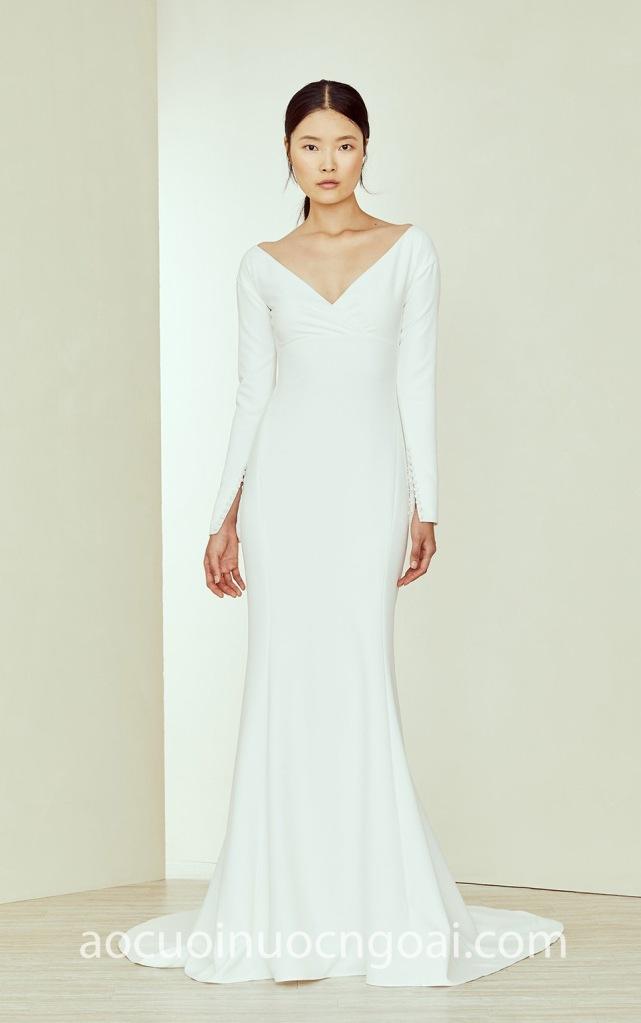 áo cưới đuôi cá tay dài tối giản minimalist nn6984