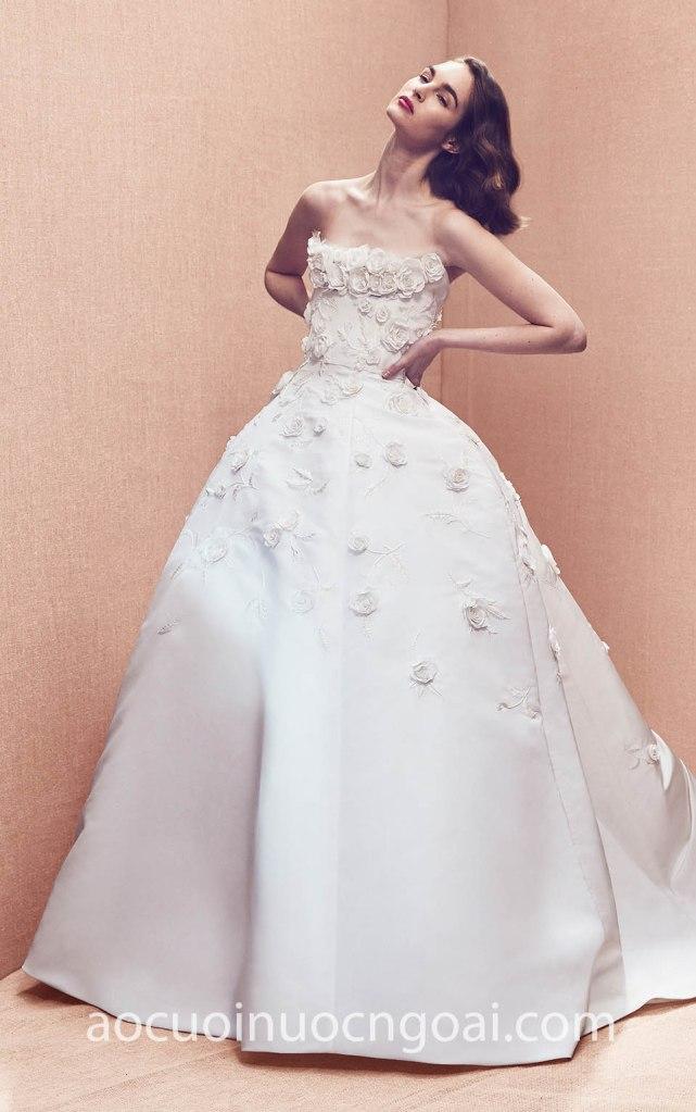 Áo cưới công chúa cúp ngực hoa hồng NN6991